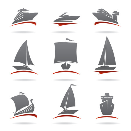 yacht: Ships set  Vector Illustration
