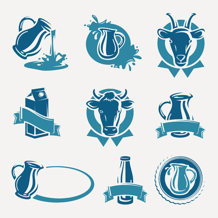milk jug: Milk labels and icons set  Vector Illustration