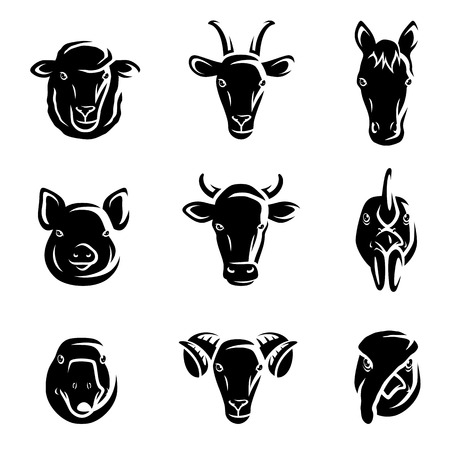 cow head: Farm animals set  Vector