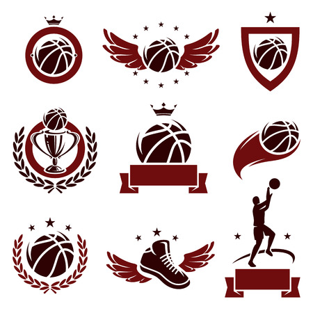 champions league: Basketball labels and icons set  Vector