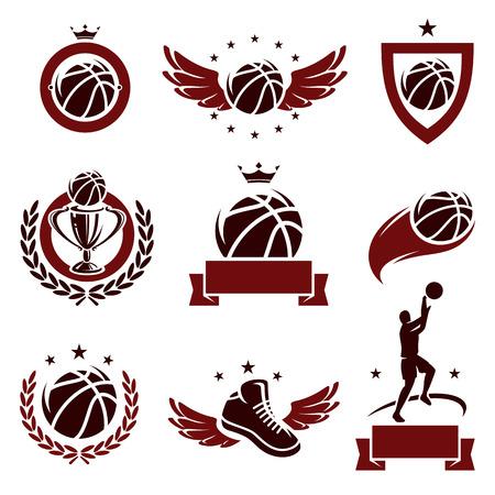 R�tulos de basquetebol e os �cones ajustados Vector