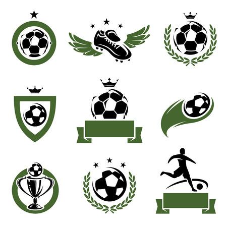balones deportivos: F�tbol y f�tbol etiquetas e iconos conjunto de vectores