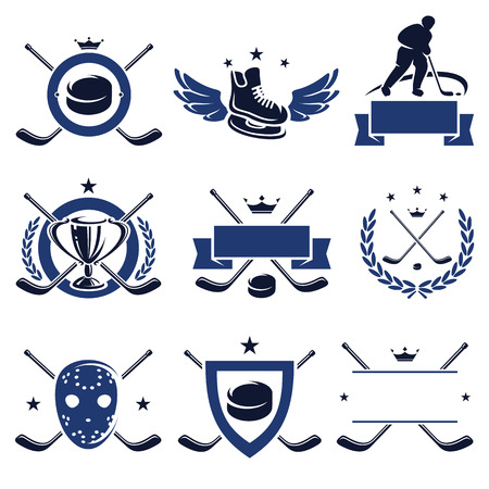 hockey goal: Hockey labels and icons set  Vector