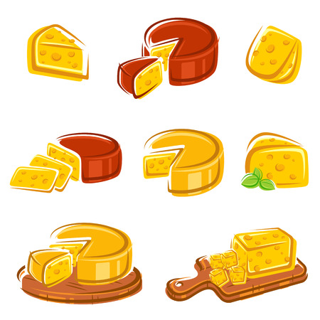 Cheese set  Vector  Çizim