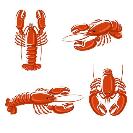 lobster: 랍스터 세트 벡터