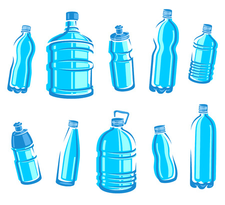 botella de plastico: Set Botellas de agua Vector
