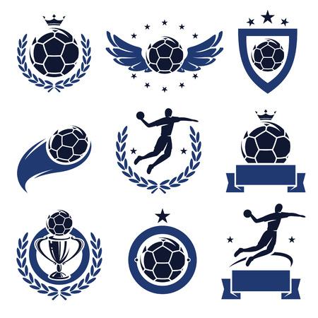 balonmano: Etiquetas de Balonmano y los iconos conjunto de vectores