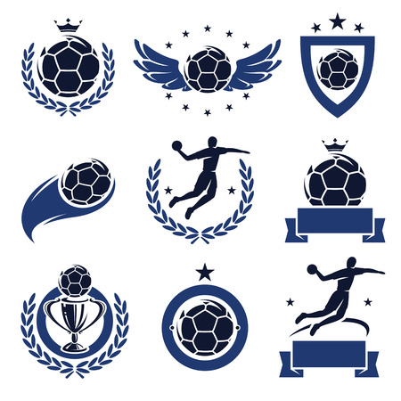 Handball labels and icons set  Vector  Vector