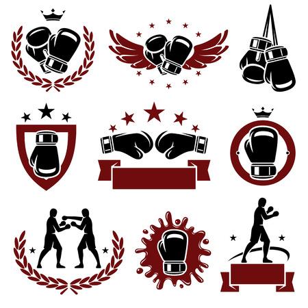 kesztyű: Boxing címkék és ikonok beállítása Vector Illusztráció