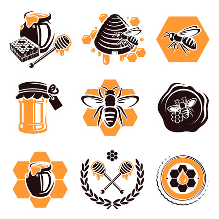 abejas panal: Honey set Vector