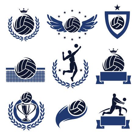 pelota de voleibol: Voleibol etiquetas e iconos conjunto de vectores