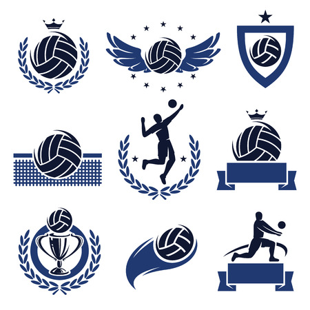 Volleyball labels and icons set  Vector  Çizim