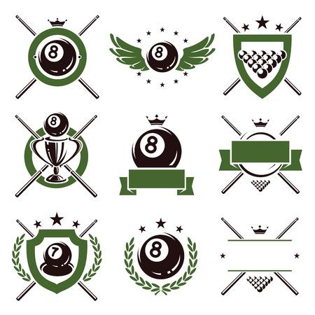 Biljart en snooker labels en pictogrammen set Vector