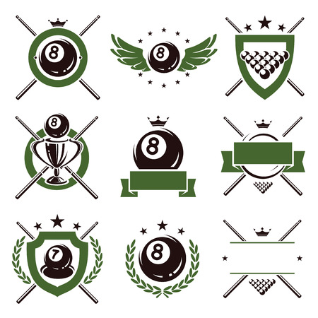 Billiards and snooker labels and icons set  Vector  Çizim