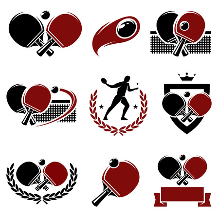 table tennis labels and icons set  Vector Vector