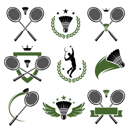 Badminton labels and icons set  Vector  Çizim