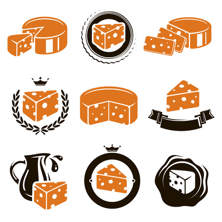milk cheese: Cheese set  Vector  Illustration