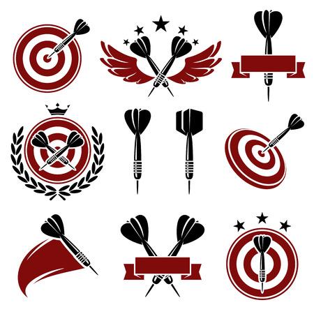 Dardos etiquetas y los iconos conjunto de vectores