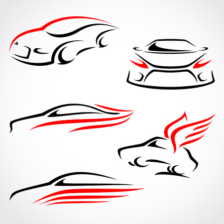 outline drawing: Cars abstract set  Vector
