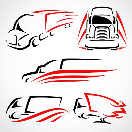 ruchome: Wektor zestaw ciężarówek Ilustracja