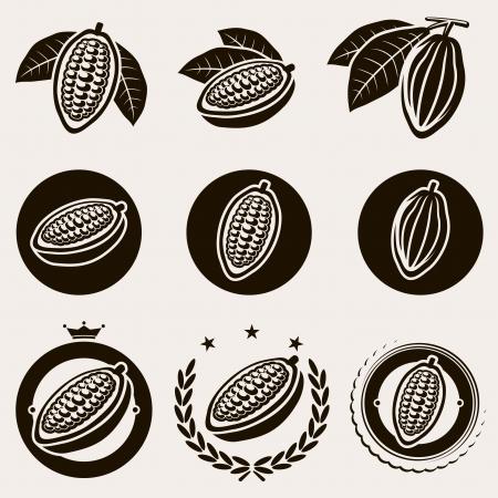 Cacao feij�o r�tulo e icons set Vector Ilustra��o