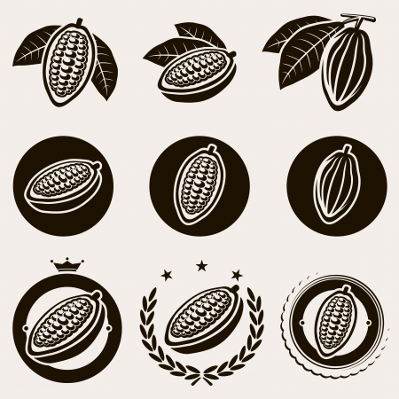 Cacao beans label and icons set  Vector  Vectores