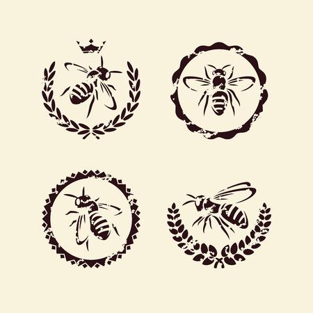 蜂のベクトルを設定  イラスト・ベクター素材