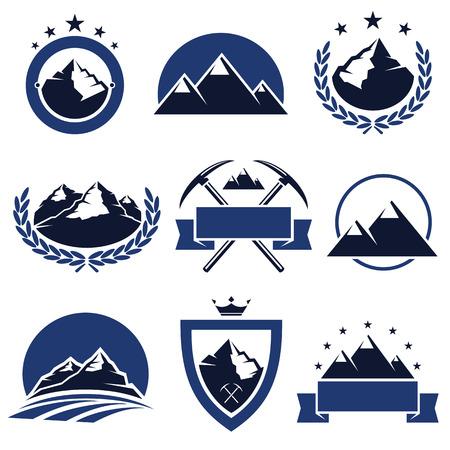 스키: 산 라벨 및 아이콘 벡터 설정