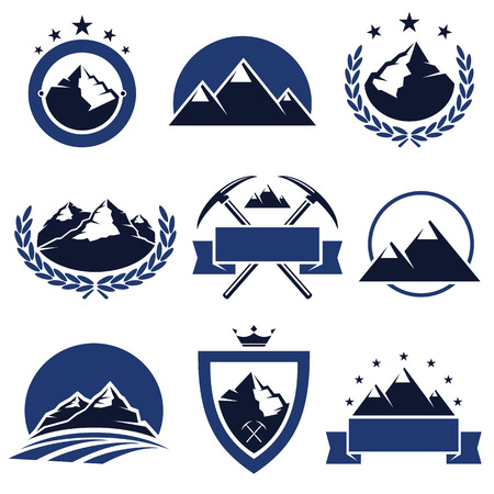 mountaineering: Mountain labels and icons set  Vector