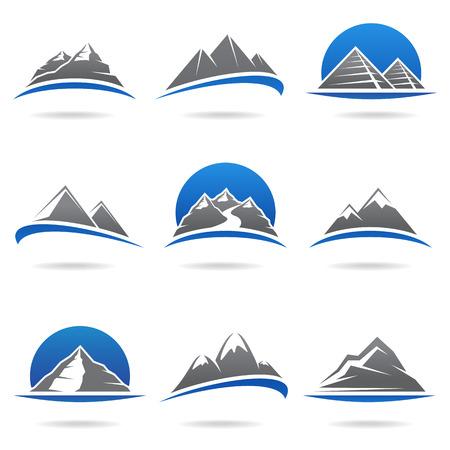 river rock: Montagne Vector set Vettoriali