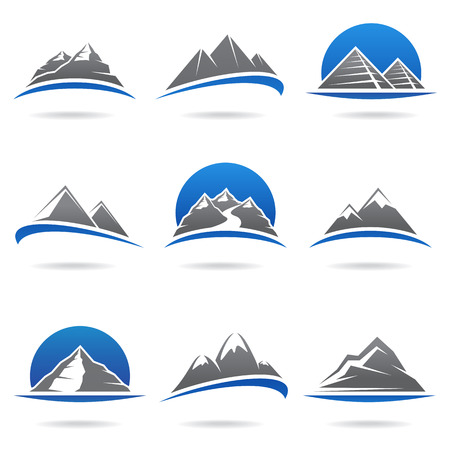 river rock: Mountains set  Vector