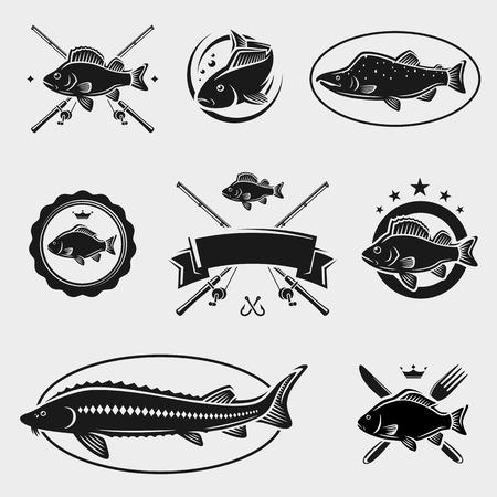 canna pesca: Timbri ed etichette Fish Set Vector Vettoriali