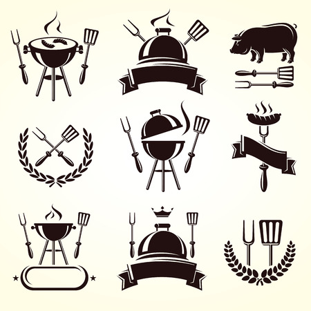 grill food: Grill elements set  Vector
