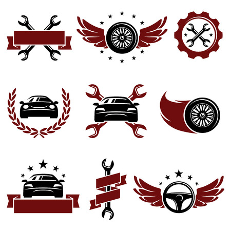 auto shop: Car service set  Vector