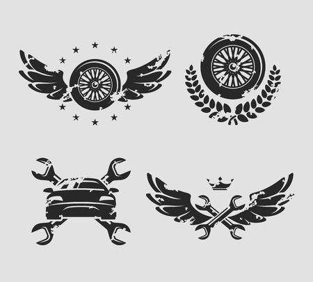 Car service set  Vector  Illustration