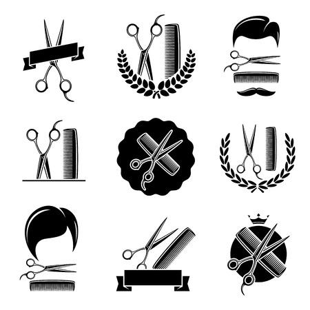 scissors comb: Barber shop set  Vector