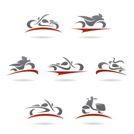 transportation silhouette: Motorcycles set  Vector