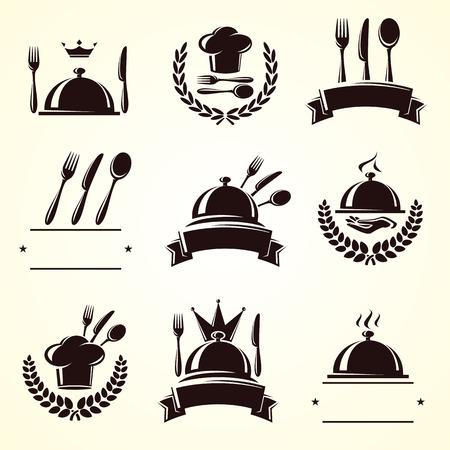 Restaurant labels set  Vector Vectores
