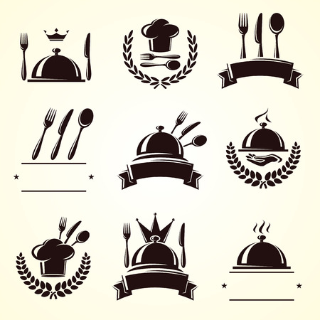 fine dining: Restaurant labels set  Vector Illustration