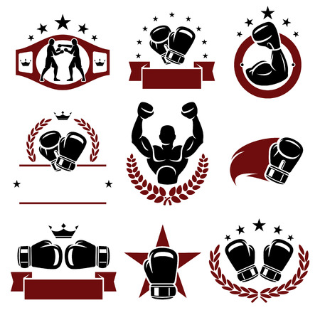 Boxing labels and icons set  Vector Фото со стока - 27146961