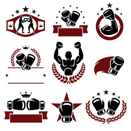 Rótulos de boxe e os ícones ajustados Vector