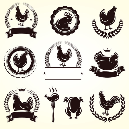 Chicken labels set  Vector  Çizim