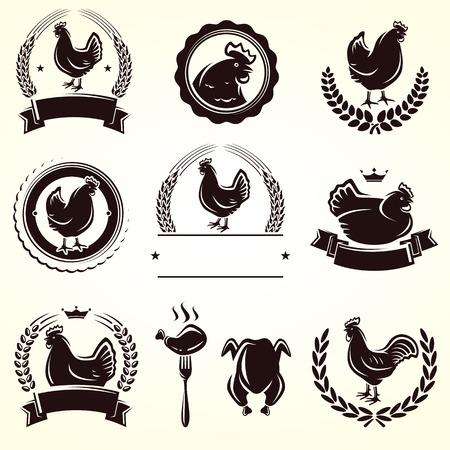 chicken and egg: Chicken labels set  Vector  Illustration