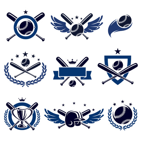 Baseball labels and icons set  Vector  Çizim