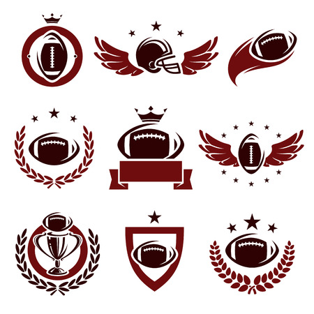 rugby team: Football labels and icons set  Vector  Illustration
