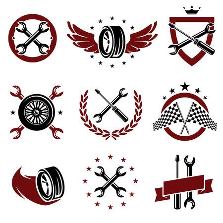 車のサービスのベクトルを設定  イラスト・ベクター素材