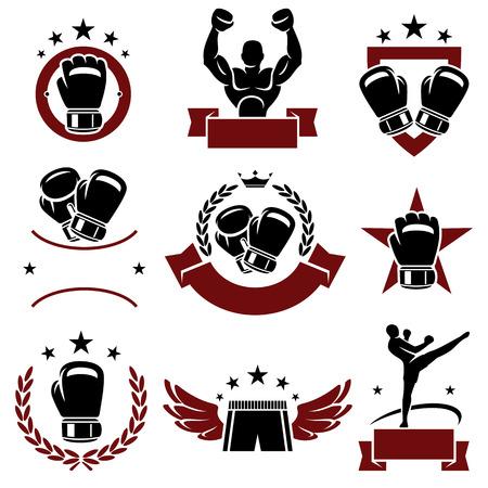 Boxerské štítky a ikony nastavit vektor