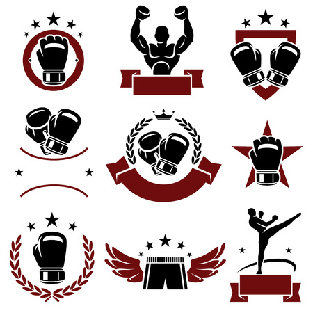 boxeador: Etiquetas de boxeo y los iconos conjunto de vectores