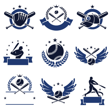 at bat: Baseball labels and icons set  Vector  Illustration