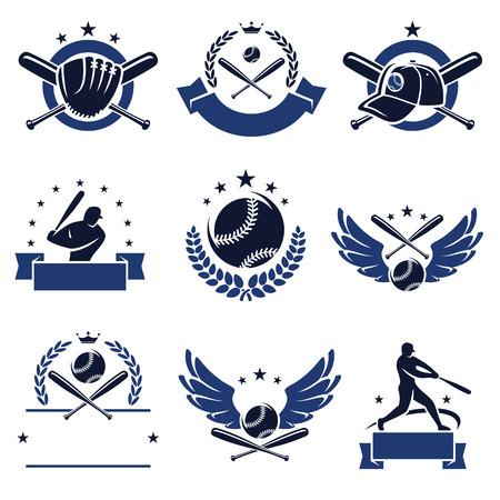 guante beisbol: Etiquetas de b�isbol y los iconos conjunto de vectores